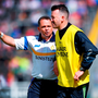 Davy Fitzgerald and Donal Óg Cusack talk tactics during the All-Ireland SHC quarter final showdown with Galway which Clare went on to lose. Photo: Stephen McCarthy/Sportsfile
