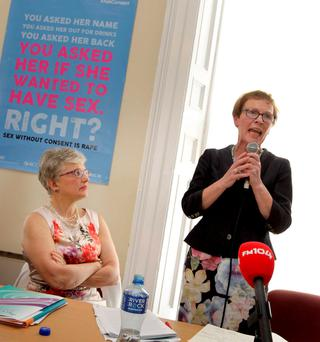 Minister for Children and Youth Affairs, Katherine Zappone and Noeline Blackwell, chief executive of the Dublin Rape Crisis Centre at the launch of the centre's annual report in Dublin this week. Photo: RollingNews.ie