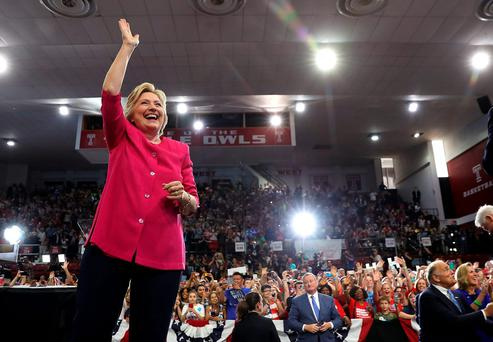 Clinton reminded voters that Trump benefits greatly from the global trade deals he has now publicly turned against. Photo: Justin Sullivan/Getty Images