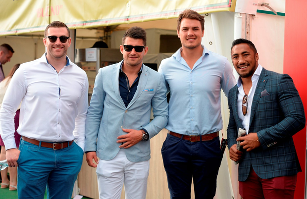 Connacht rugby players (from left) Andrew Browne, Tiernan O'Halloran, Quinn Roux and Bundee Aki at the races yesterday. Photo: Cody Glenn