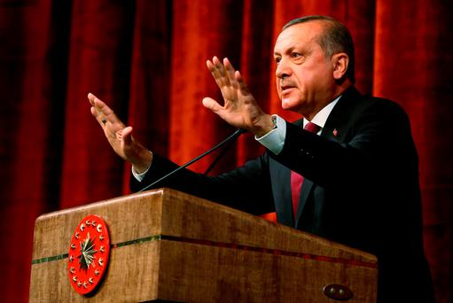 Turkey President Recep Tayyip Erdogan delivers a speech commenting on those killed and wounded during a failed July 15 military coup, in Ankara (AP Photo/Kayhan Ozer Presidential Press Service, via AP Pool)