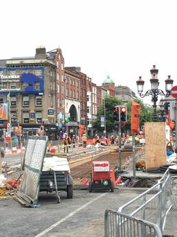 Construction works on O'Connell Bridge. Photo: Twitter/Garda Traffic