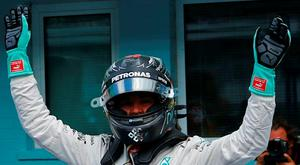 Mercedes' Nico Rosberg reacts after qualification. REUTERS/Ralph Orlowski