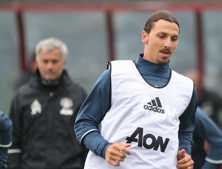 Jose Mourinho watches Zlatan Ibrahimovic in training. Getty