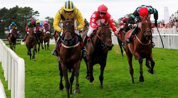 Westerner Lady ridden Ruby Walsh (left) wins The Ladbrokes Handicap Hurdle during day six of the Galway Festival in Ballybrit
