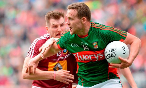 Andy Moran of Mayo in action against Kieran Martin of Westmeath during the GAA Football All-Ireland Senior Championship Round 4B match between Westmeath and Mayo at Croke Park in Dublin. Photo by Oliver McVeigh/Sportsfile