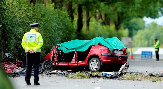 FATAL: The scene on the Clane to Kilcock road last week, where a young man lost his life. Photo: Gerry Mooney