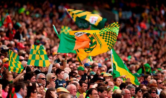 Donegal supporters, in the Cusack Stand, during the GAA Football All-Ireland Senior Championship Round 4B match between Donegal and Cork at Croke Park in Dublin. Photo by Ray McManus/Sportsfile