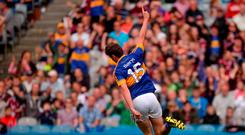 Conor Sweeney of Tipperary celebrates scoring his side's second goal during the GAA Football All-Ireland Senior Championship Quarter-Final match between Galway and Tipperary at Croke Park in Dublin. Photo by Piaras Ó Mídheach/Sportsfile