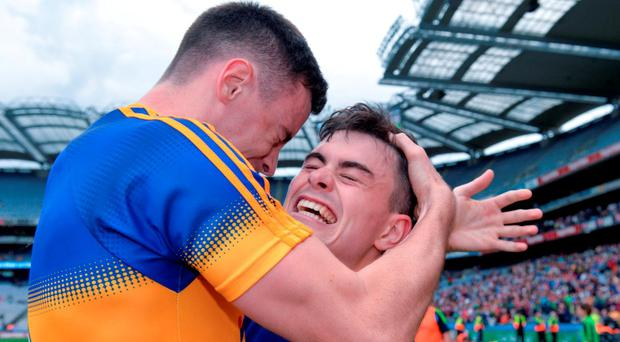 Tipperary's Michael Quinlivan, right, and AlanCampbell celebrate after the GAA Football All-Ireland Senior Championship Quarter-Final match between Galway and Tipperary at Croke Park in Dublin. Photo by Piaras Ó Mídheach/Sportsfile