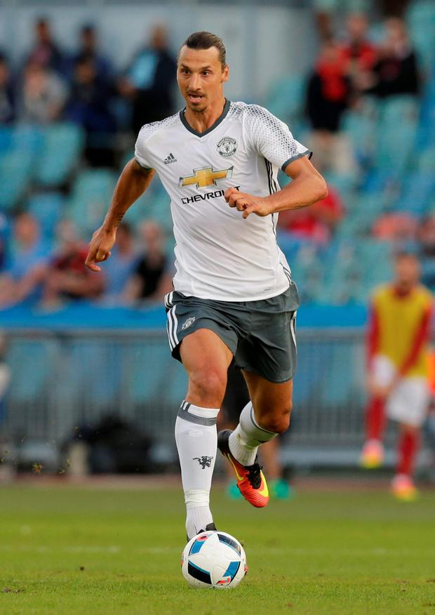 Zlatan Ibrahimovic is pictured during his Manchester United debut against Galatasaray on Saturday.