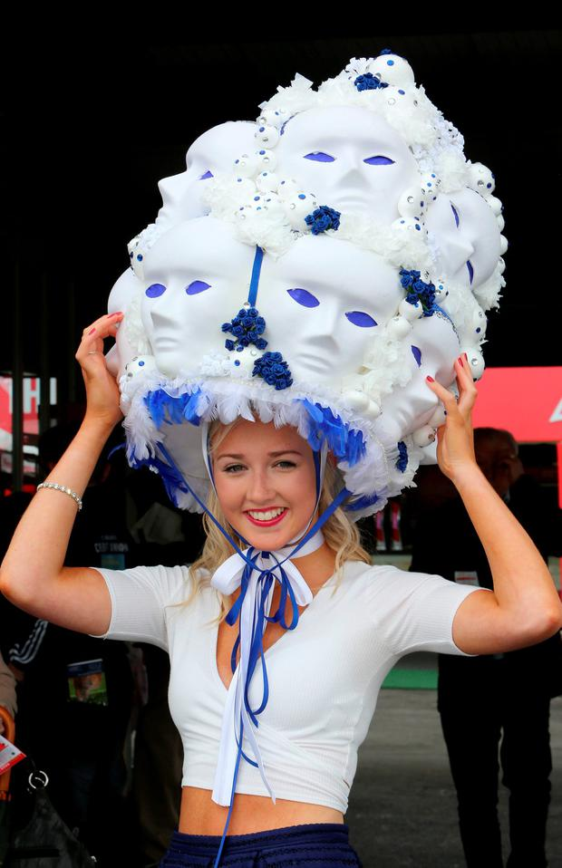 Louise Maye from Dublin at the Galway Races mad Hatters Day. Photo: Hany Marzouk