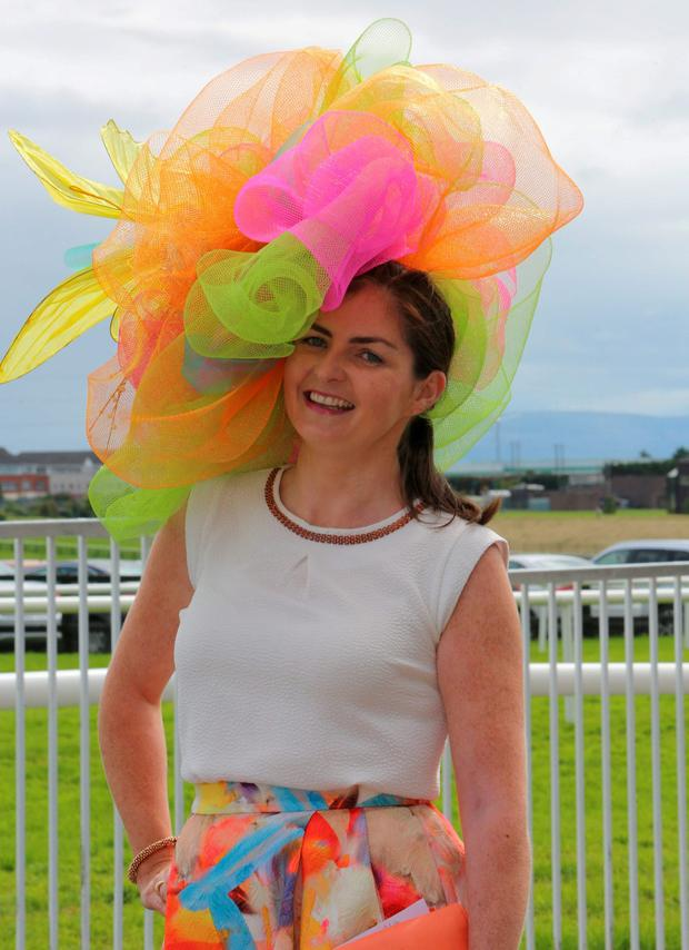 Rosaleen Beattie from Craughwell was the overall winner of the senior compotation of the mad hatters day at the Galway Races. Photo: Hany Marzouk