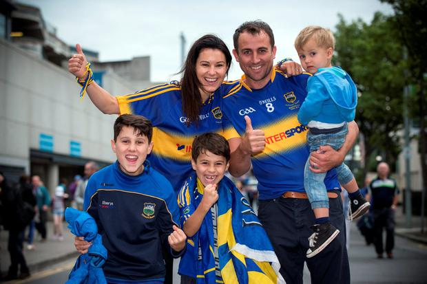 Allie and Andrew Lacy with their children Evan (12), Cillian (8) and Andrew (2). Pic:Mark Condren