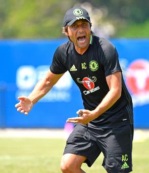Antonio Conte tries to get his point across to the Chelsea players during a training session in Los Angeles. Photo: Chelsea FC via Getty Images