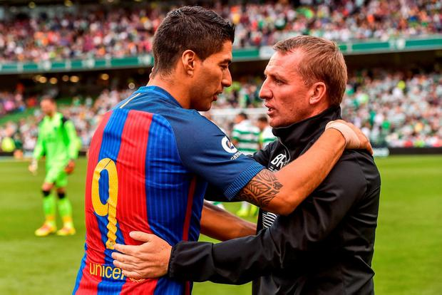 Luis Suarez and Brendan Rodgers. Photo by Dave Maher/Sportsfile