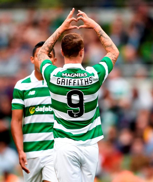 Leigh Griffiths celebrates his goal. Photo by David Maher/Sportsfile