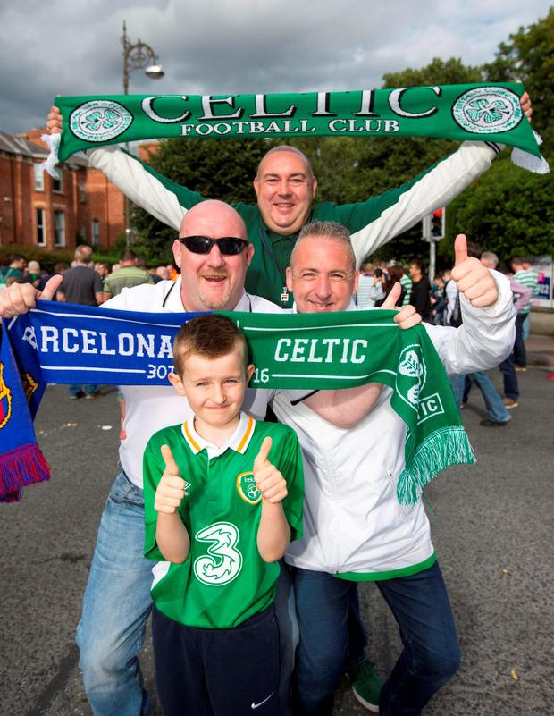 Celtic fans Phil Currans, Peter Gillan, Deco Martin and Calum Martin (9) from Lusk. Pic: Mark Condren