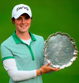 Leona Maguire with the amateur trophy after day four of the Ricoh Women's British Open at Woburn Picture: PA