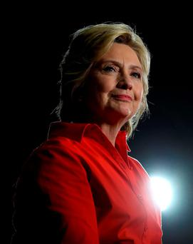 Democratic US presidential nominee Hillary Clinton at a campaign rally in Youngstown, Pennsylvania Picture: Getty