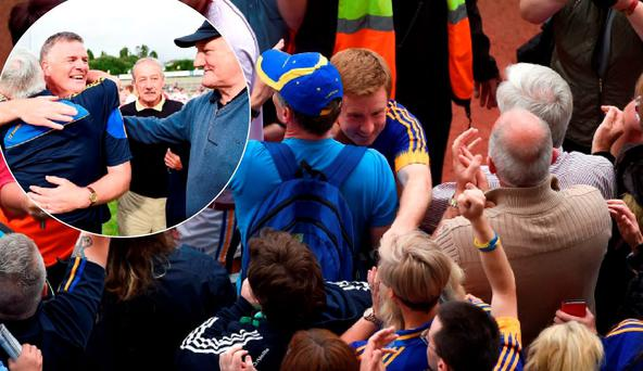 Tipp manager Liam Kearns celebrates after the win over Galway and (main pic) Brian Fox with the fans