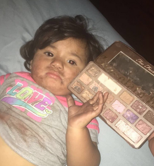 Lauren Rincon's niece mistook an eyeshadow palette for a bar of chocolate.