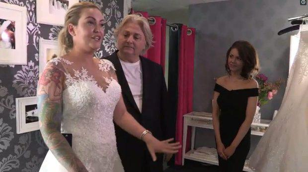 Amy Davidson and David Emanuel in Say Yes To The Dress. Picture: TLC