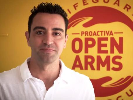 Xavi, speaking in a video message for Proactivia Open Arms. Getty