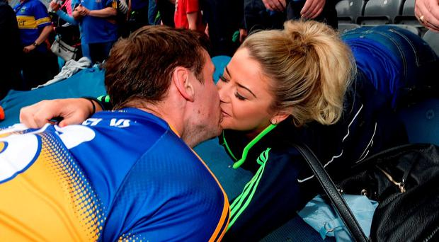 Conor Sweeney of Tipperary celebrates with his girlfriend Shauna Hill after the GAA Football All-Ireland Senior Championship Quarter-Final match between Galway and Tipperary at Croke Park in Dublin. Photo by Eóin Noonan/Sportsfile