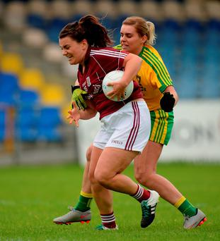 Gillian O'Connor of Galway in action against Kelly Wilson of Donegal. Photo: Seb Daly/Sportsfile