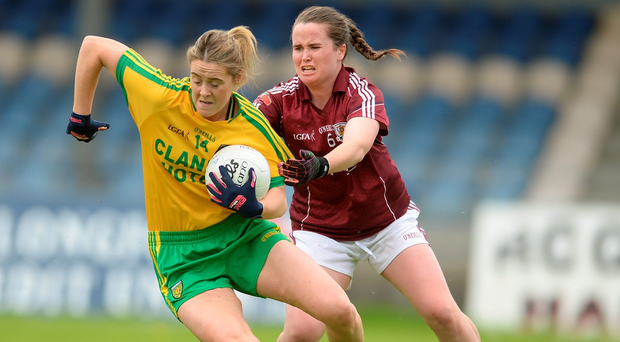 Yvonne McMonagle of Donegal in action against Nicola Ward of Galway. Photo: Eóin Noonan/Sportsfile
