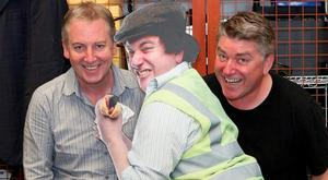 Comedian Pat Shortt at his Limerick studios with Paul Williams. Photo: Liam Burke/Press 22