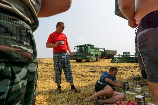 Workers take a break during a wheat harvest on a farm operated by Kernel Holding SA, in Varva, Ukraine. Russia's wheat-export prices resumed declines last week amid bumper crops in Black Sea nations including Ukraine and Romania, according to the Institute for Agricultural Market Studies