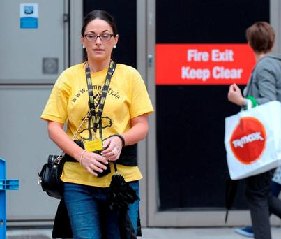 Sarah-Jane Murphy signed up as a 'chugger' for Amnesty. Picture: Caroline Quinn