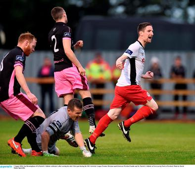 Ian Bermingham of St.Patrick's Athletic celebrate's after scoring his side's first goal during the SSE Airtricity League Premier Division match between Wexford Youths and St. Patrick's Athletic at Ferrycarrig Park in Wexford. Photo by David Maher/Sportsfile