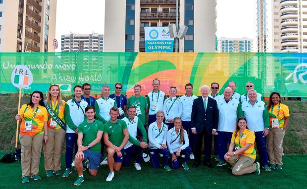 Members of the Irish team at the Olympic Village in Rio, Brazil.. Photo by Stephen McCarthy/Sportsfile
