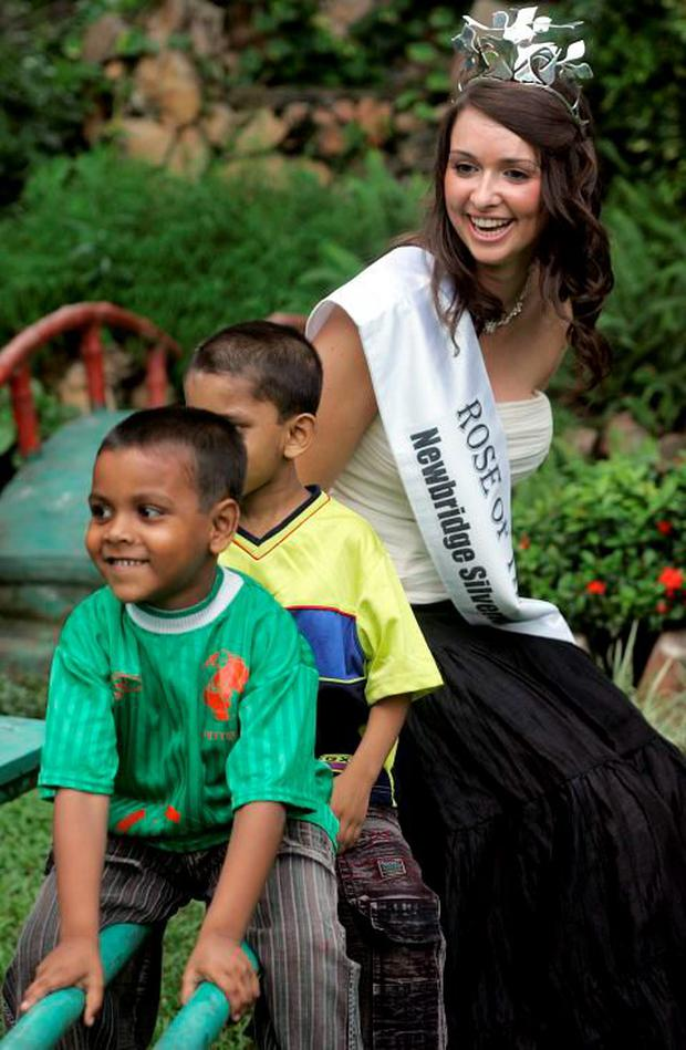 Former Rose of Tralee Aoibhinn Ni Shuilleabhain on a charity trip to India in 2006