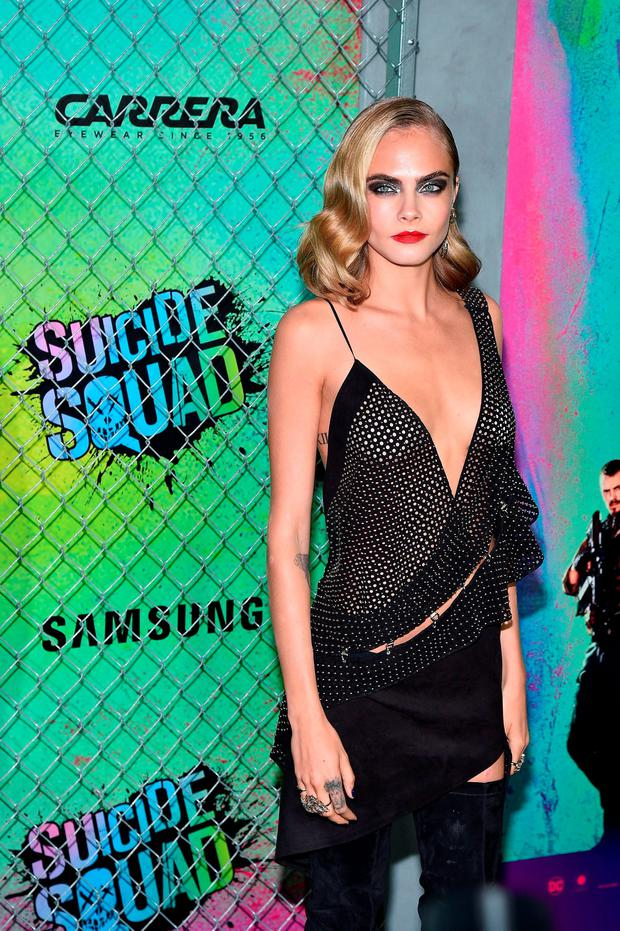 Actress Cara Delevingne attends the Suicide Squad premiere sponsored by Carrera at Beacon Theatre on August 1, 2016 in New York City. (Photo by Bryan Bedder/Getty Images for Carrera)