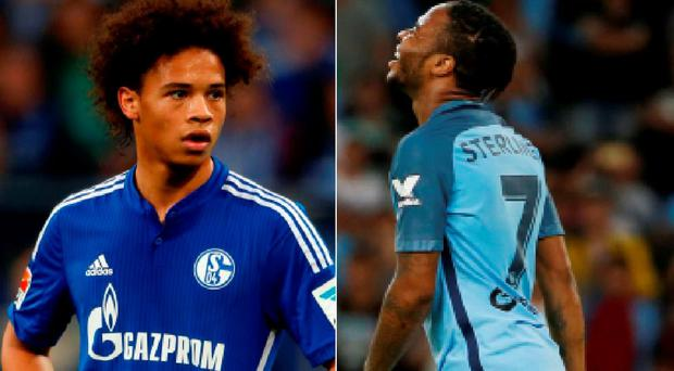 Leroy Sane has completed his Man City move and (right) Raheem Sterling