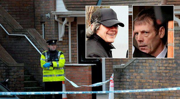 The home of Eddie Hutch where he was shot dead in February, inset left, Gerry 'The Monk' Hutch; inset right, Patrick 'Paddy' Hutch Snr