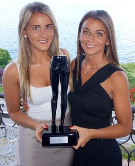 Photographed with the 'Best Performance Internationally' award at the annual Freddy Clothing conference event held this year in Lake Maggiore, Italy are from left to right: sisters Elena Demery and Malindi Demery, co-founders of Freddy, the Irish based distributor for Freddy Clothing