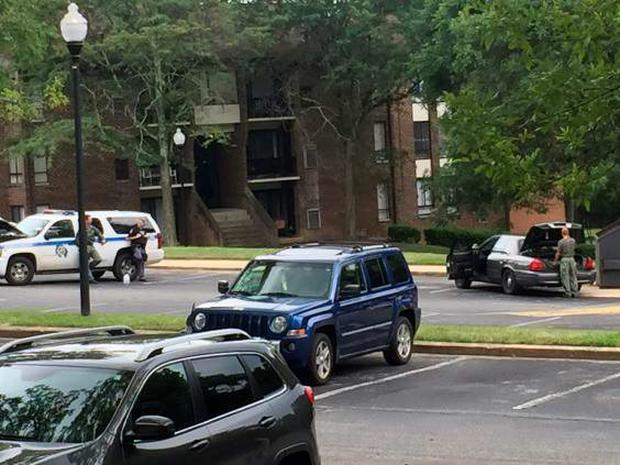 Police outside the apartment where Korryn Gaines was shot dead in Randallstown on 1 August