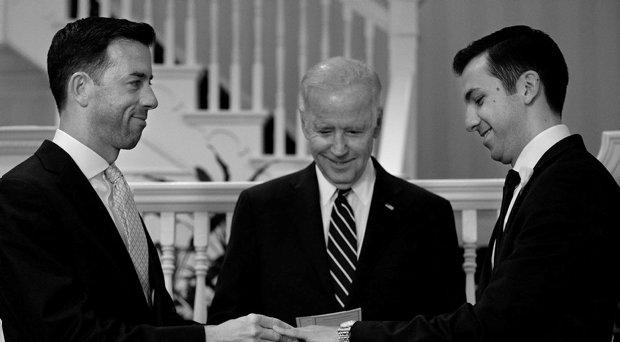 Joe Biden officiates his first wedding ceremony for two White House staffers