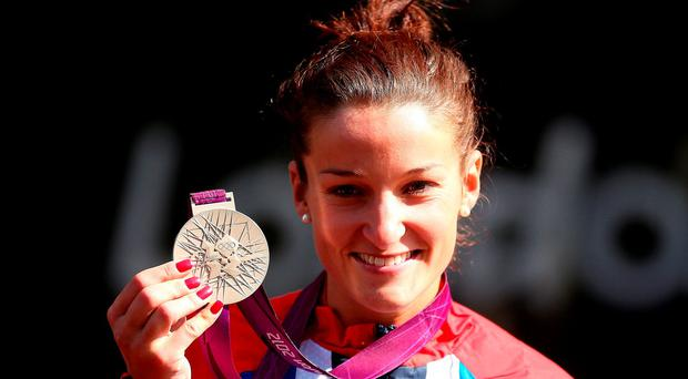 Great Britain's Lizzie Armitstead with her Silver medal following the Women's Road Race at London 2012 Olympics