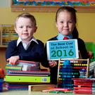 Sam Morgan (7) and Cora Hannon (6) at the launch of Barnardos' 11th annual School Costs Survey. Photo: Patrick Bolger