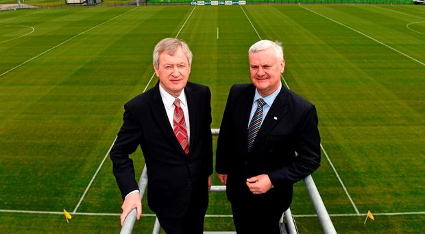 Director general Páraic Duffy and president Aogán Ó Fearghail at the official opening of the GAA National Games Development Centre in Abbotstown, which is to become a hub for counties benefitting from Leinster's proposed €1.5m investment in coaching. Picture: Brendan Moran / Sportsfile