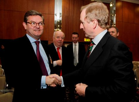 Taoiseach Enda Kenny meets British Ambassador to Ireland Julian King in Brussels in 2011. Photo: Niall Carson/PA Wire