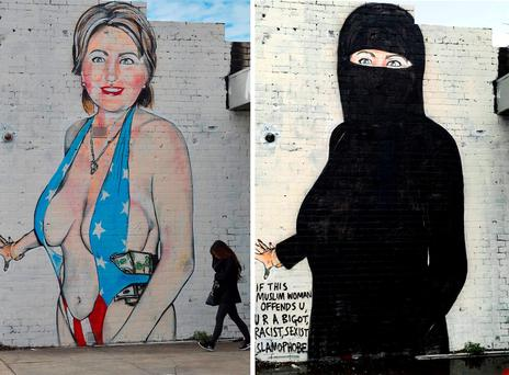 The before and after of graffiti artist Lushsux's Hillary Clinton mural. Photo: AFP/Getty Images