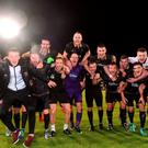 Dundalk players celebrate after the UEFA Champions League Third Qualifying Round 2nd Leg match between Dundalk and BATE Borisov at Tallaght Stadium in Tallaght, Co. Dublin. Photo by David Maher/Sportsfile