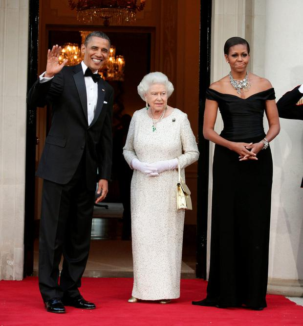May 2011: (L-R) U.S. President Barack Obama, Queen Elizabeth II and First Lady Michelle Obama arrive at Winfield House, the residence of the Ambassador of the United States of America, in Regent's Park.